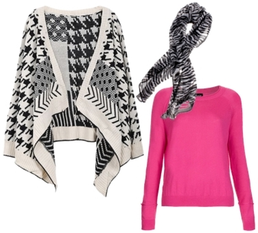 zebra scarf and printed cardigan