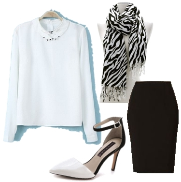 zebra scarf with black and white work outfit