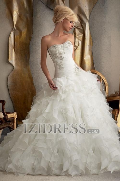 A-Line Ball Gown Strapless Sweetheart Chiffon Wedding Dress