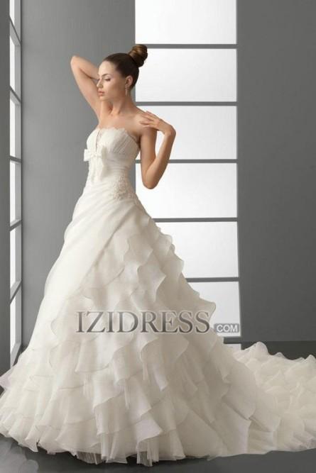 A-line Strapless Organza Wedding Dress