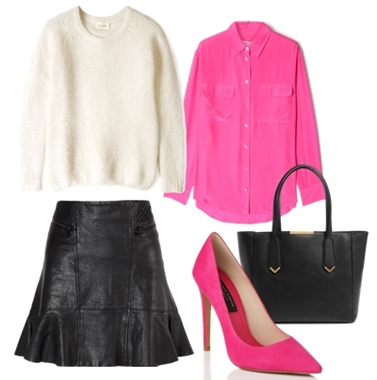 Pink Point Toe Court Shoe Outfit
