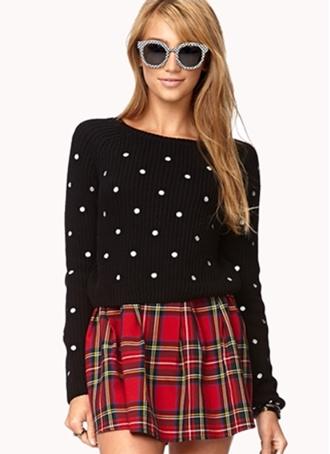 Sweet Polka Dot Cropped Sweater
