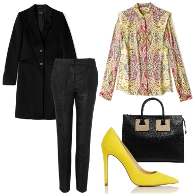 Yellow Point Toe Court Shoe Outfit