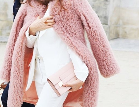 blush coat with white