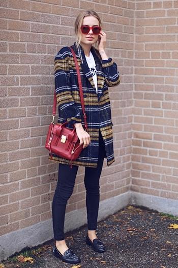 tartan coat outfit