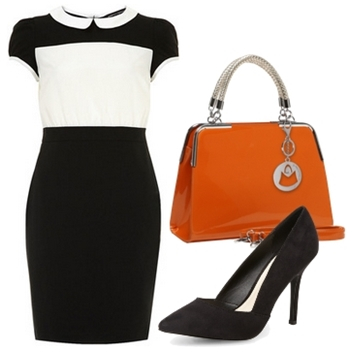 2 in 1 pencil dress black and white
