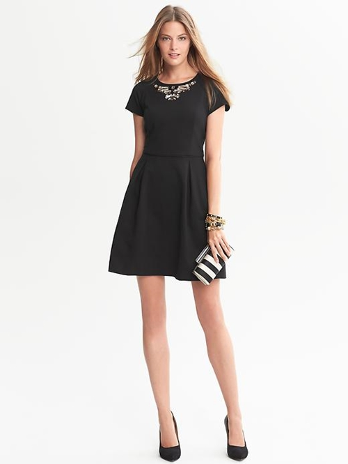 Banana Republic Embellished Fit And Flare Dress