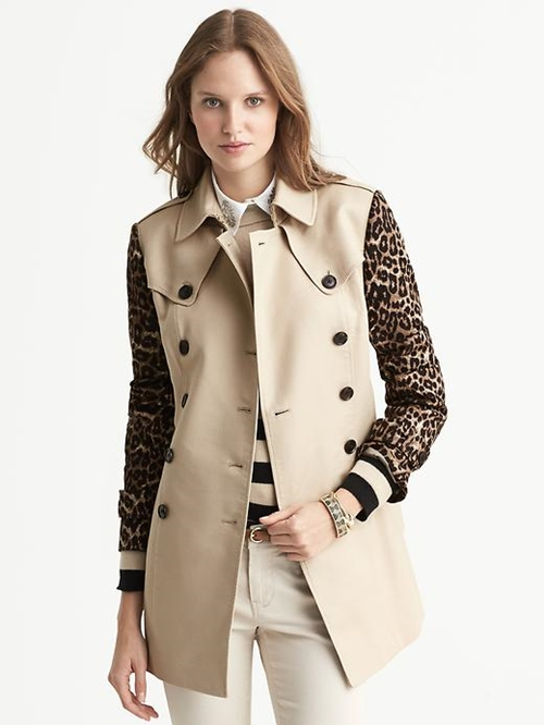 Cheetah-Sleeve Trench