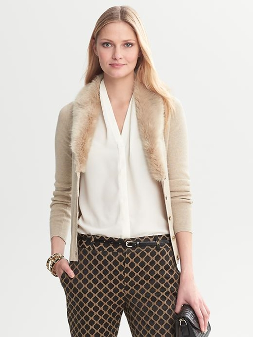 Faux-Fur Collar Cardigan