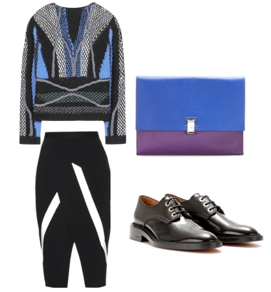 Peter Pilotto sweater and crepe skirt