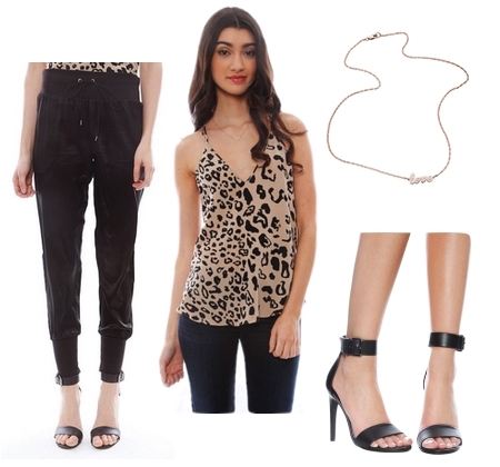 leopard cami with black pants