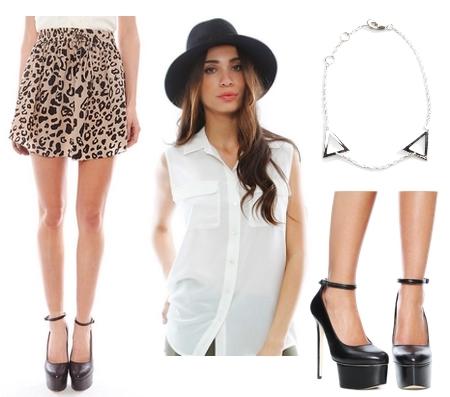 leopard drawstring skirt