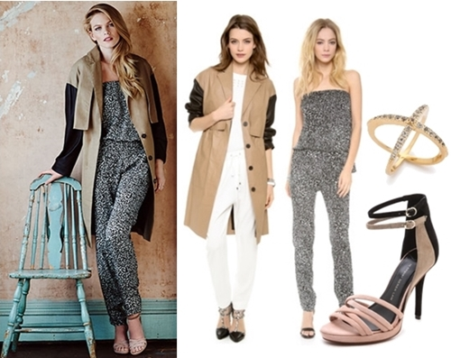 trench coat and jumpsuit