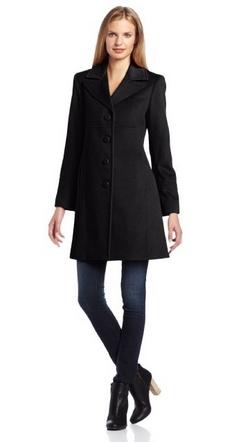 Larry Levine Women's Classic Single-Breasted Notch-Collar Coat