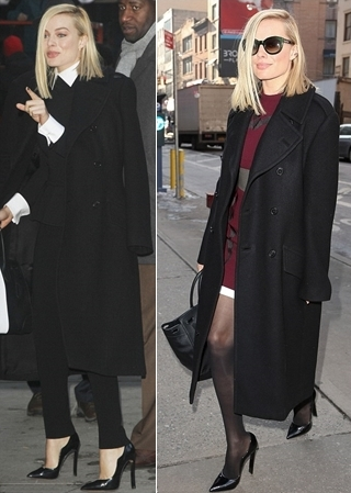 Margot Robbie in black coat outfits