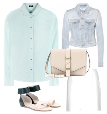 Mint shirt with skirt outfit