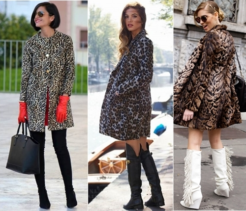 how to wear leopard print coat with tall boots