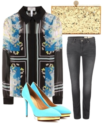 printed silk shirt outfit