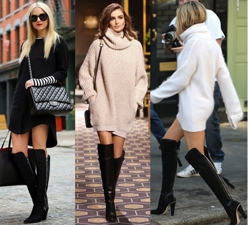 Cozy Up In Sweater Dress And Over The Knee Boots Creative Fashion