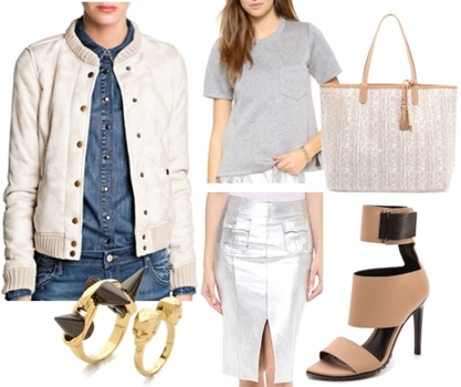 How to Wear a Neutral Shearling Bomber Jacket for a Chic But Relaxed Feel