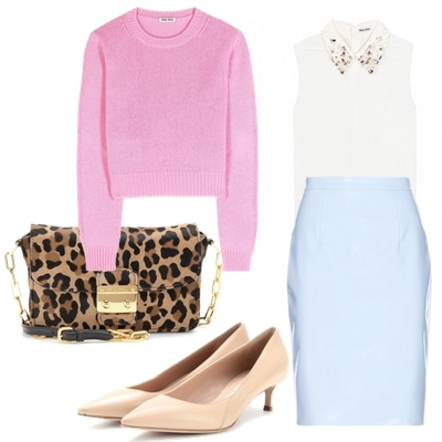 Miu Miu Ciré pencil skirt outfit