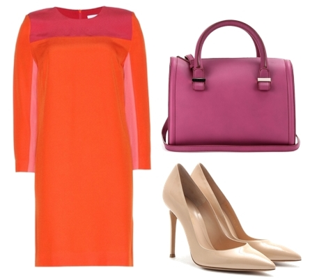Victoria Beckham Colour-block crepe dress