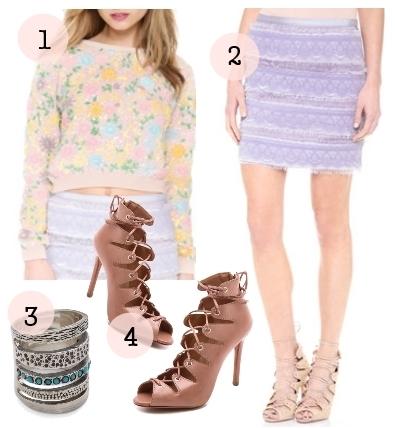 fringe and lace skirt