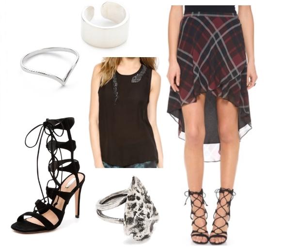 hippie-chic plaid skirt