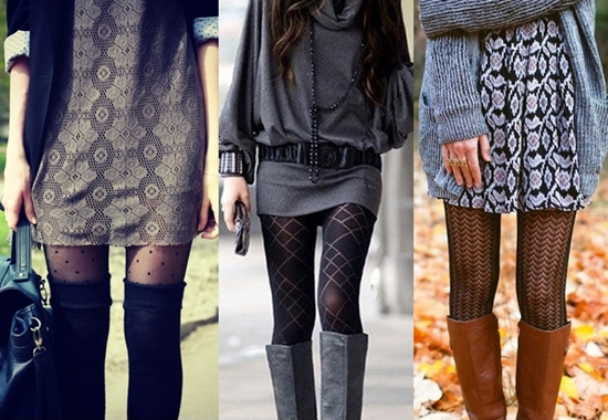 Balance your patterned tights with tall boots and mini dress