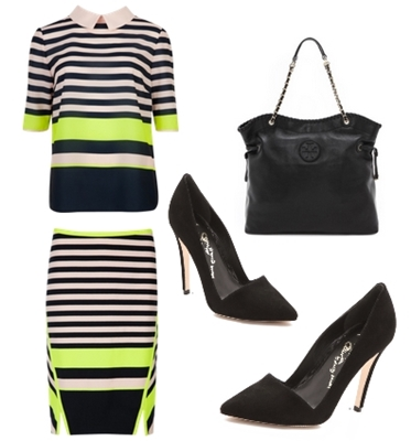 Candy bar stripe top and skirt