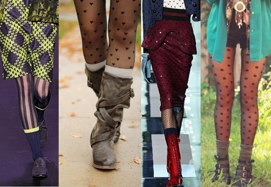 Layer your patterned tights with socks