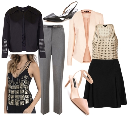 wake your work outfit with sequined top