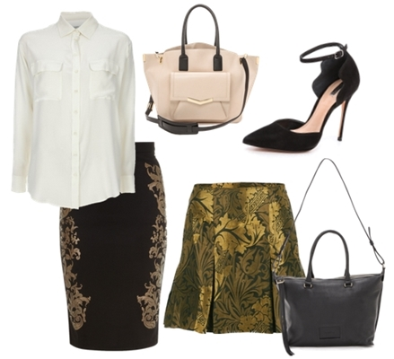 wake your work outfit with sparkle gold skirt
