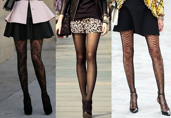 wear patterned tights with black