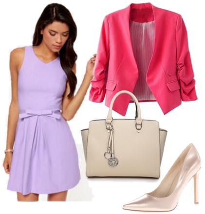 Lavender Dress with Rose Jacket for Work
