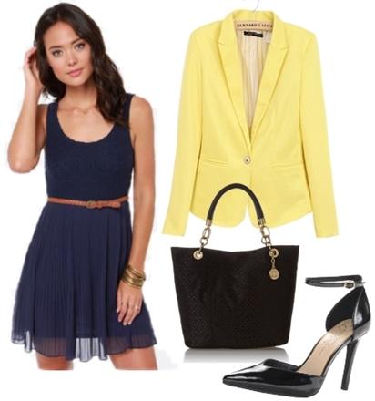 Navy Blue Dress with Yellow Blazer for Work
