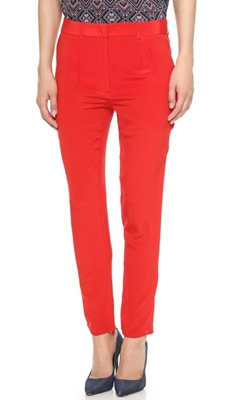 Red Pleated Silk Pants