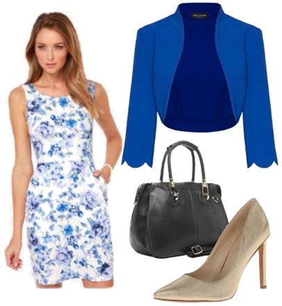 Rose Blue Floral Print Dress for Work