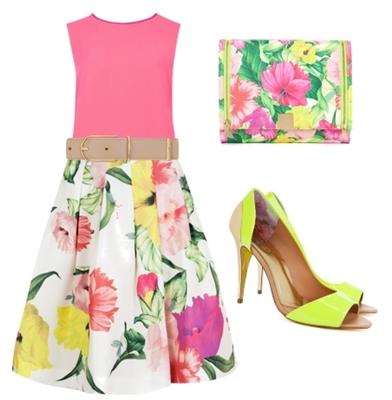 MUIRIN - Floral print skirt outfit