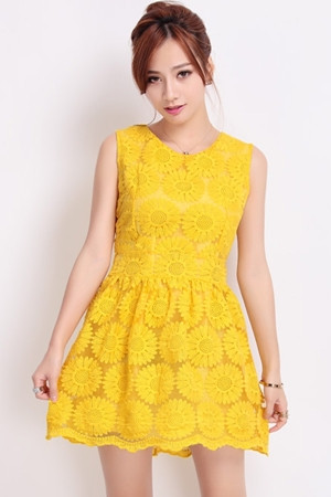 Sun Flower Embroidered Lace Dress