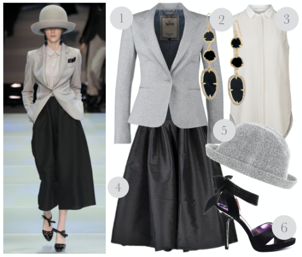 outfit inspired by the runway - grey blazer and skirt