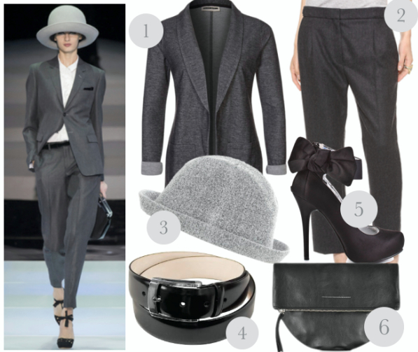 outfit inspired by the runway - grey suit