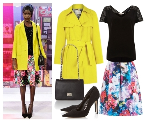 yellow coat and floral skirt for fall
