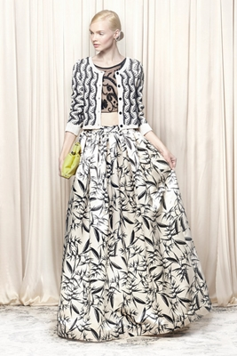 Alice and Olivia Black and white print full skirt