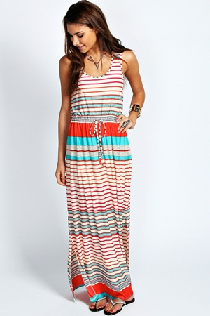 Candy Tie Waist Stripe Maxi Dress