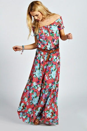 Jamie Off The Shoulder Floral Maxi Dress
