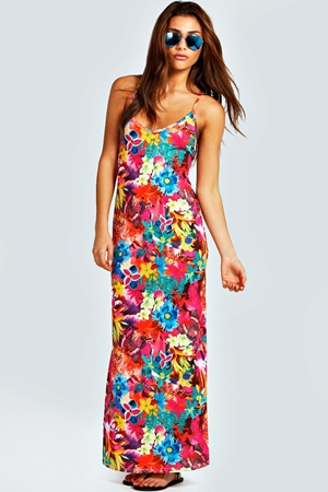 Mila Tropical Print Cross Back Maxi Dress
