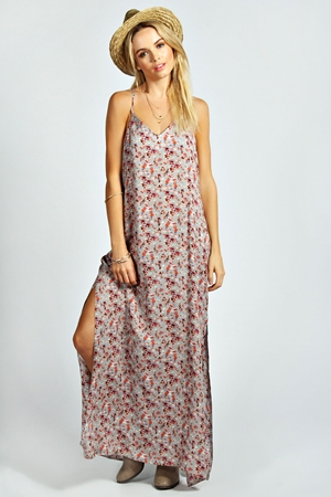 Vicky Side Slit Woven Maxi Dress