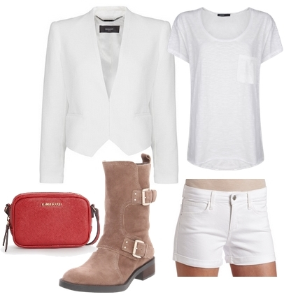 White Jacket on White Tee and Shorts