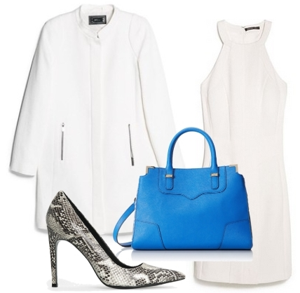 White Straight Cut Coat Over White Fitted Dress